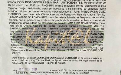 Procuraduría abre indagación preliminar contra el Alcalde de Arauca por el posible nombramiento irregular de cuatro funcionarios.