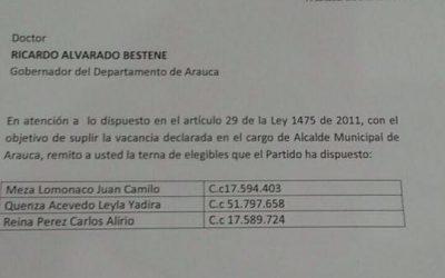 Se desarma terna de Cambio Radical enviada desde Bogotá. Dos de sus integrantes salieron al parecer por no pertenecer al partido.