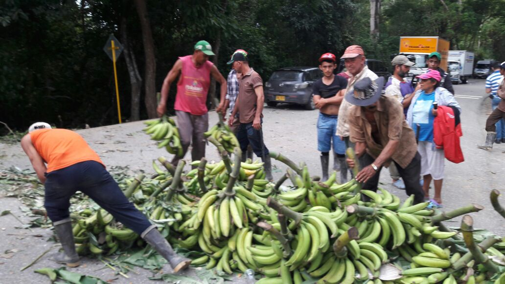 Campesinos le protestaron a la Policía por quitarles tractor y evitar venta de plátano