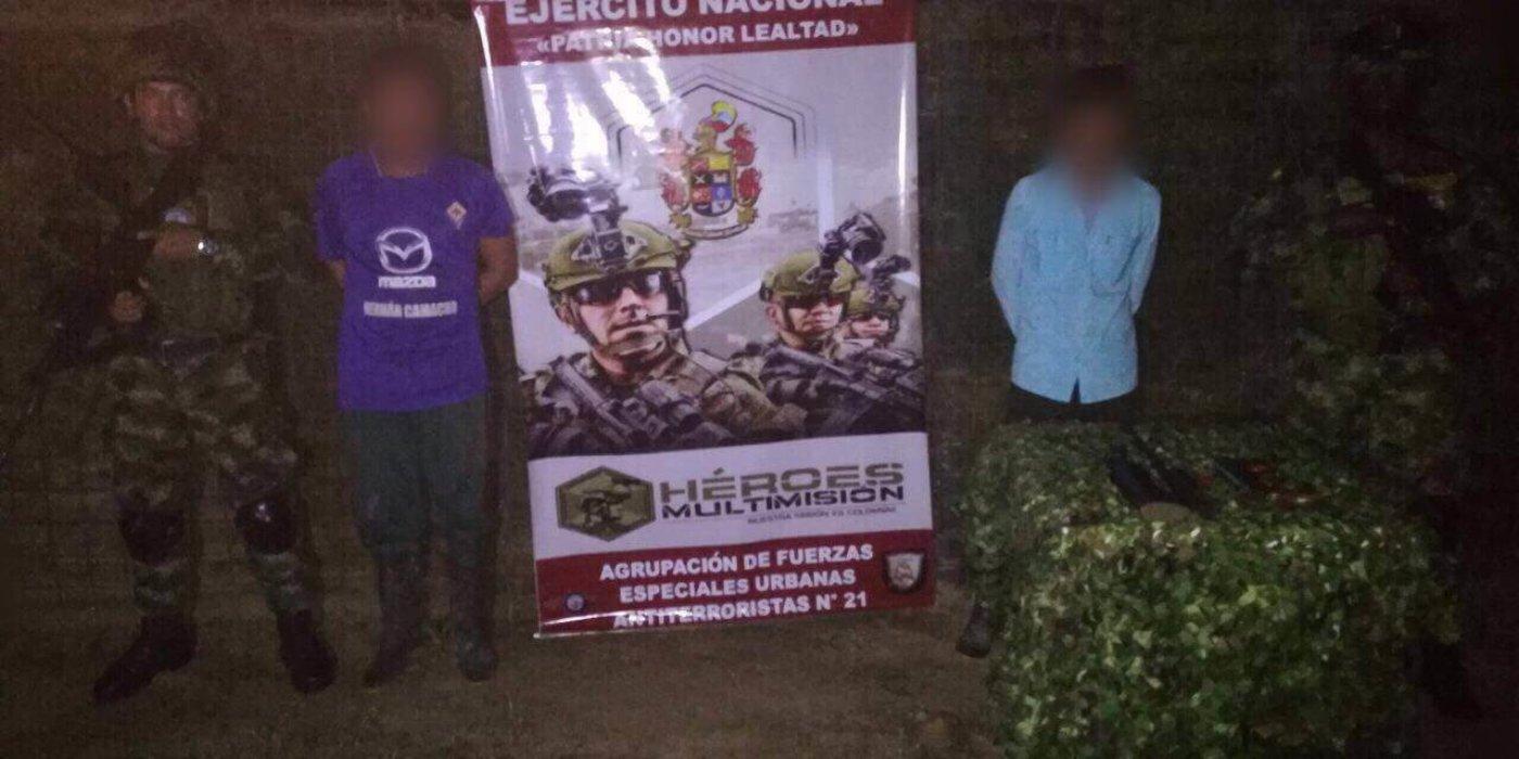 Dos personas fueron capturadas en zona rural de Arauquita cuando trasladaban dos armas de fuego en una motocicleta