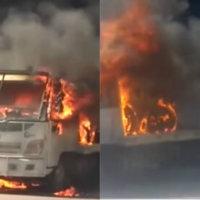 Incendio destruyo grúa de la policía de tránsito en Saravena. Autoridades investigan si la conflagración fue provocada o una falla mecánica.