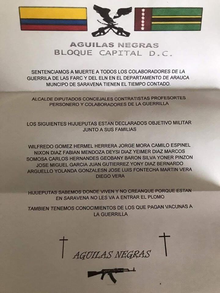 Bloque capital de las Águilas Negras amenaza a grupo de dirigentes políticos de Saravena. Los acusa de colaboradores de la guerrilla.
