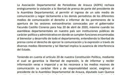 Asociación Departamental de Periodistas de Arauca pidió al presidente de la asamblea Juan Qüenza respetar el derecho a la libertad de prensa.