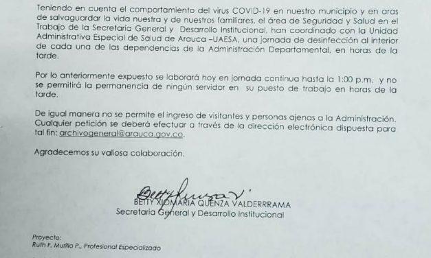 Alerta en la Gobernación de Arauca por posibles casos de covid-19