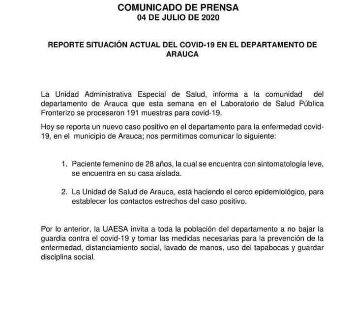 Mujer de 28 años es el nuevo caso positivo en el municipio de Arauca