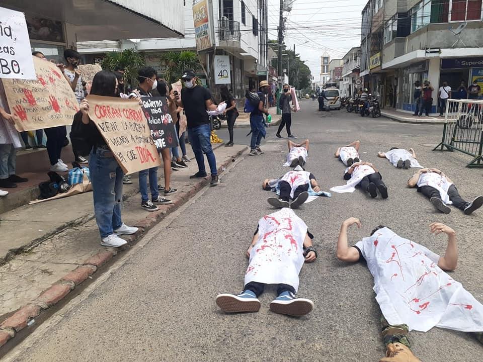 Protesta en Arauca contra la Policía