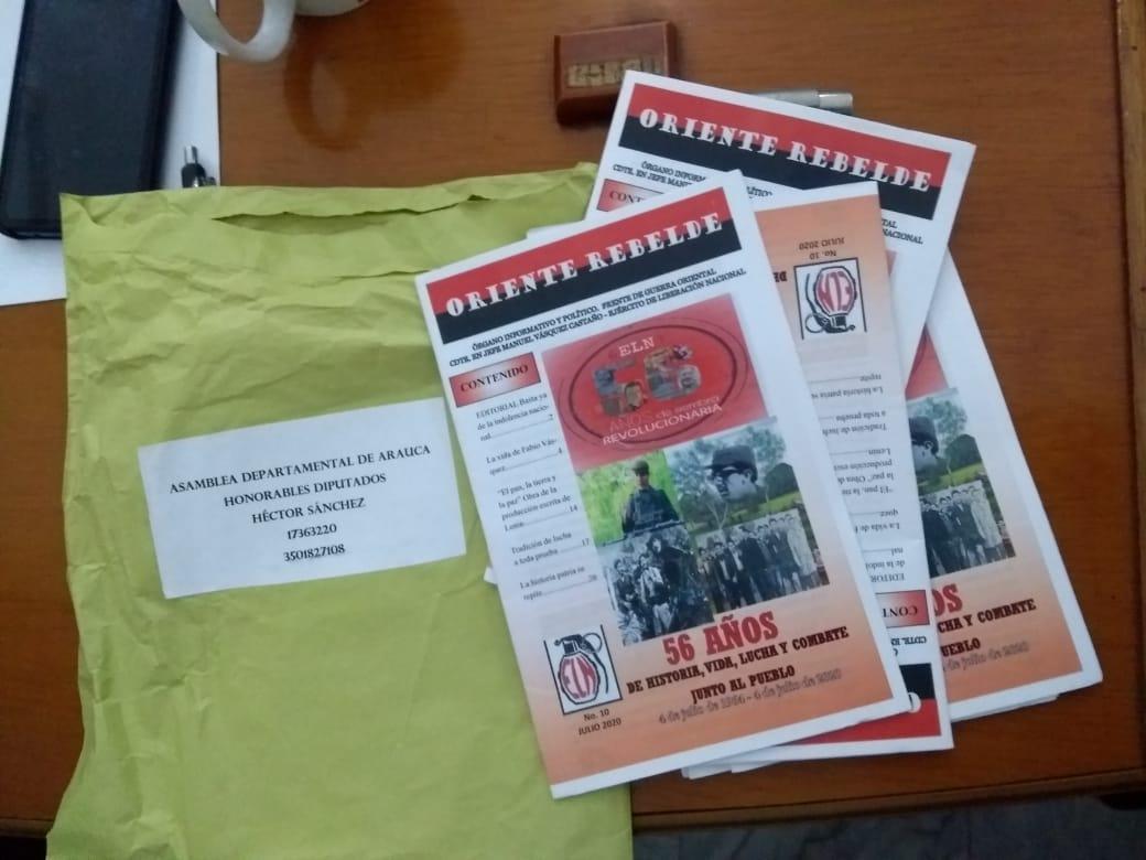 Con once cartillas guerrilla del Eln envió mensaje a los diputados de Arauca