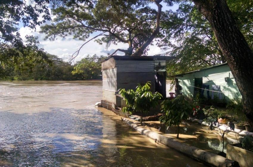 Familias de Pescadito en Arauca están con el agua a la cintura, varias casas están en alto riesgo de que se las lleve el río.